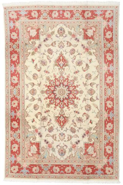 Tabriz 50 Raj Vloerkleed 190X293 Echt Oosters Handgeknoopt Beige/Lichtbruin (Wol/Zijde, Perzië/Iran)