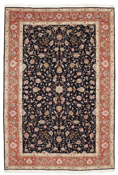 Tabriz 50 Raj Met Zijde Vloerkleed 207X306 Echt Oosters Handgeknoopt Zwart/Donkerrood (Wol/Zijde, Perzië/Iran)