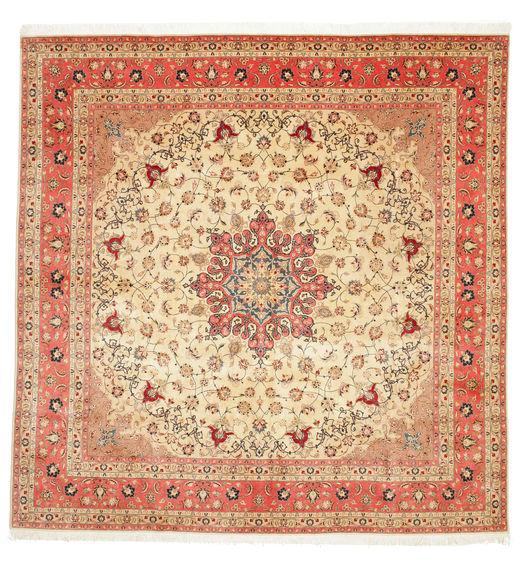 Tabriz 50 Raj Met Zijde Vloerkleed 292X298 Echt Oosters Handgeknoopt Vierkant Beige/Roestkleur Groot (Wol/Zijde, Perzië/Iran)