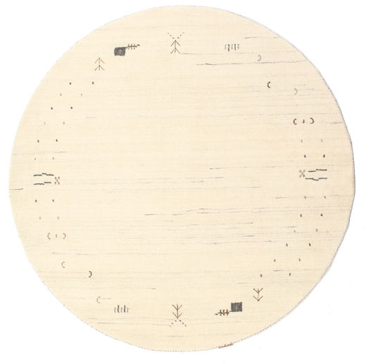 Gabbeh Loom Frame - Gebroken Wit Vloerkleed Ø 150 Modern Rond Beige/Wit/Creme (Wol, India)