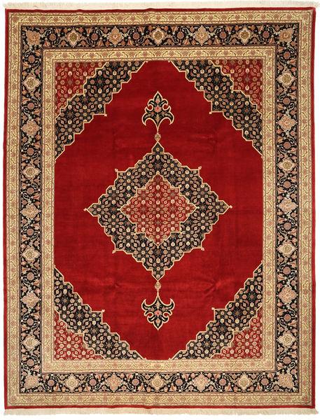 Tabriz 50 Raj Met Zijde Vloerkleed 250X322 Echt Oosters Handgeknoopt Donkerrood/Donkerbruin Groot (Wol/Zijde, Perzië/Iran)