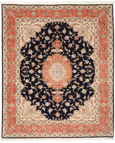 Tabriz 50 Raj Met Zijde Vloerkleed 200X246 Echt Oosters Handgeknoopt Donkerbruin/Beige (Wol/Zijde, Perzië/Iran)