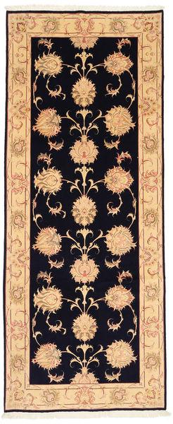 Tabriz 50 Raj Met Zijde Vloerkleed 123X310 Echt Oosters Handgeknoopt Tapijtloper Donkerpaars/Roestkleur (Wol/Zijde, Perzië/Iran)