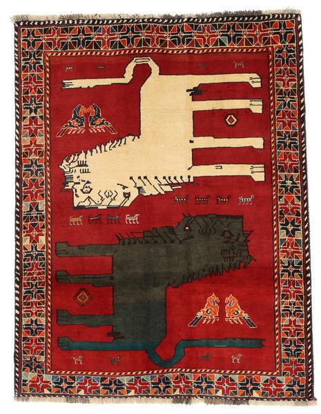 Ghashghai Figuratief/Geïllustreerd Vloerkleed 133X172 Echt Oosters Handgeknoopt Roestkleur/Donkergrijs (Wol, Perzië/Iran)