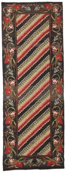 Rozenkelim Moldavia Vloerkleed 132X366 Echt Oosters Handgeweven Tapijtloper Zwart/Donkergrijs (Wol, Moldavië)