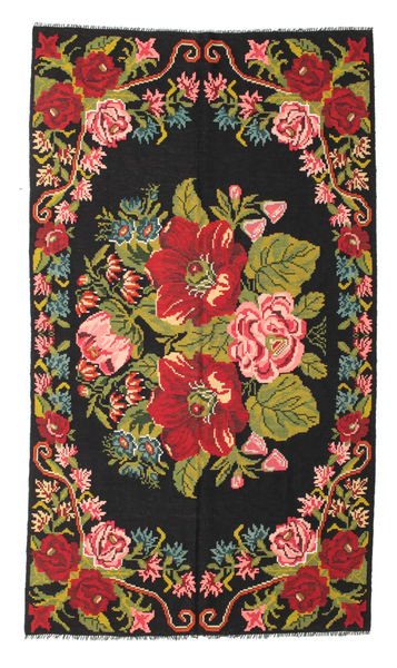 Rozenkelim Moldavia Vloerkleed 171X308 Echt Oosters Handgeweven Zwart/Rood (Wol, Moldavië)
