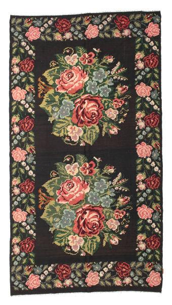 Rozenkelim Moldavia Vloerkleed 194X364 Echt Oosters Handgeweven Tapijtloper Zwart/Donkerbruin (Wol, Moldavië)