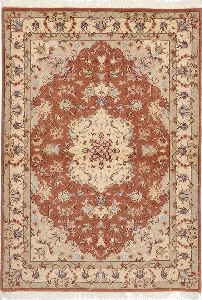 Tabriz 50 Raj Met Zijde Vloerkleed 105X150 Echt Oosters Handgeknoopt Bruin/Lichtbruin (Wol/Zijde, Perzië/Iran)
