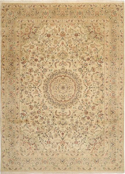 Tabriz 50 Raj Met Zijde Vloerkleed 250X346 Echt Oosters Handgeknoopt Donkerbeige/Lichtbruin/Beige Groot (Wol/Zijde, Perzië/Iran)