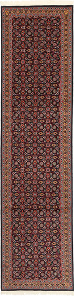 Tabriz 50 Raj Met Zijde Vloerkleed 75X300 Echt Oosters Handgeknoopt Tapijtloper Donkerbruin/Donkerrood (Wol/Zijde, Perzië/Iran)