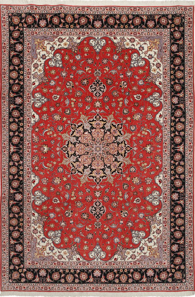 Tabriz 50 Raj Met Zijde Vloerkleed 204X305 Echt Oosters Handgeknoopt Donkerrood/Donkerbruin (Wol/Zijde, Perzië/Iran)
