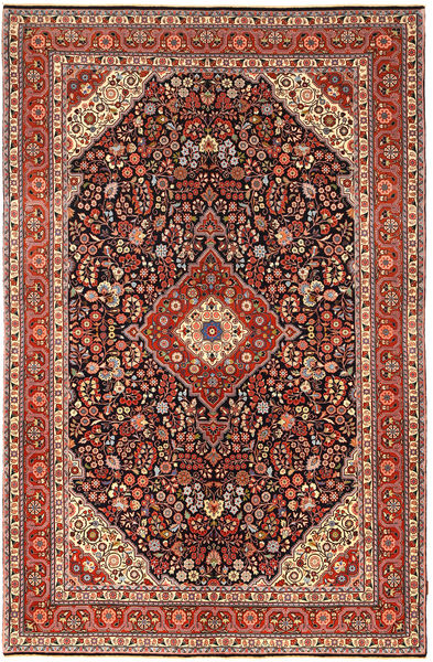 Jozan Vloerkleed 200X311 Echt Oosters Handgeknoopt Donkerbruin/Donkerrood (Wol, Perzië/Iran)