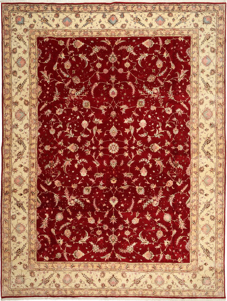 Tabriz 50 Raj Vloerkleed 290X398 Echt Oosters Handgeknoopt Donkerrood/Roestkleur Groot (Wol/Zijde, Perzië/Iran)