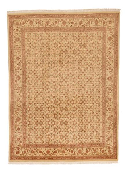 Tabriz 50 Raj Vloerkleed 216X289 Echt Oosters Handgeknoopt Donkerbeige/Lichtbruin (Wol/Zijde, Perzië/Iran)