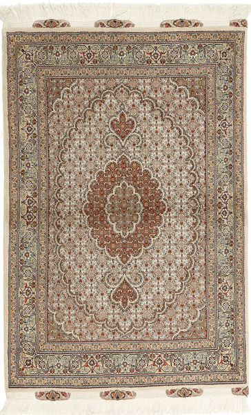 Tabriz 50 Raj Vloerkleed 100X150 Echt Oosters Handgeknoopt Lichtgrijs/Lichtbruin (Wol/Zijde, Perzië/Iran)