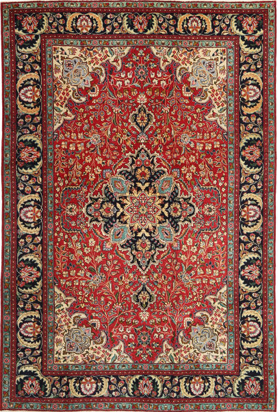 Tabriz Patina Vloerkleed 205X305 Echt Oosters Handgeknoopt Donkerrood/Donkerbruin (Wol, Perzië/Iran)