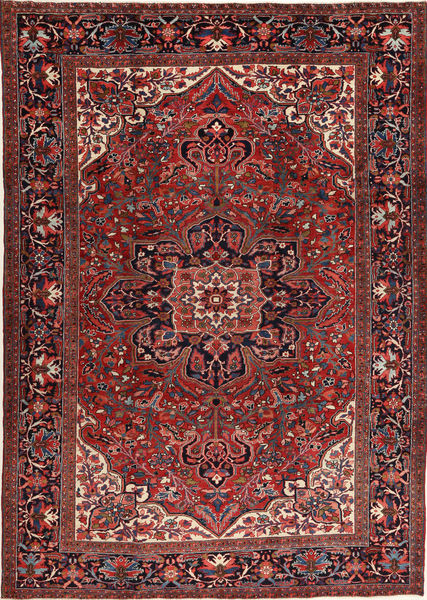 Heriz Vloerkleed 266X372 Echt Oosters Handgeknoopt Donkerrood/Zwart Groot (Wol, Perzië/Iran)