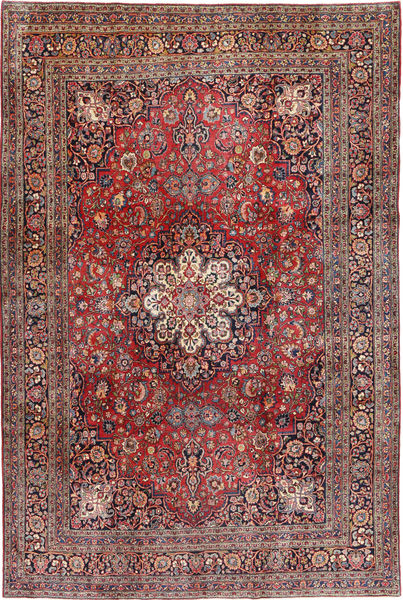 Keshan Vloerkleed 233X356 Echt Oosters Handgeknoopt Donkerrood/Donkerbruin (Wol, Perzië/Iran)