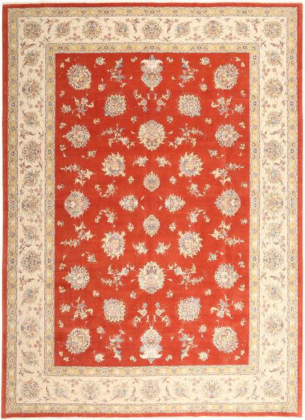 Tabriz 50 Raj Met Zijde Vloerkleed 296X403 Echt Oosters Handgeknoopt Beige/Roestkleur/Rood Groot (Wol/Zijde, Perzië/Iran)