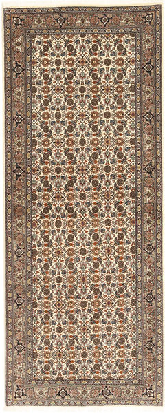Tabriz 50 Raj Vloerkleed 80X208 Echt Oosters Handgeknoopt Tapijtloper Lichtbruin/Lichtgrijs (Wol/Zijde, Perzië/Iran)
