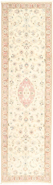 Tabriz 50 Raj Vloerkleed 80X298 Echt Oosters Handgeknoopt Tapijtloper Beige/Lichtroze (Wol/Zijde, Perzië/Iran)