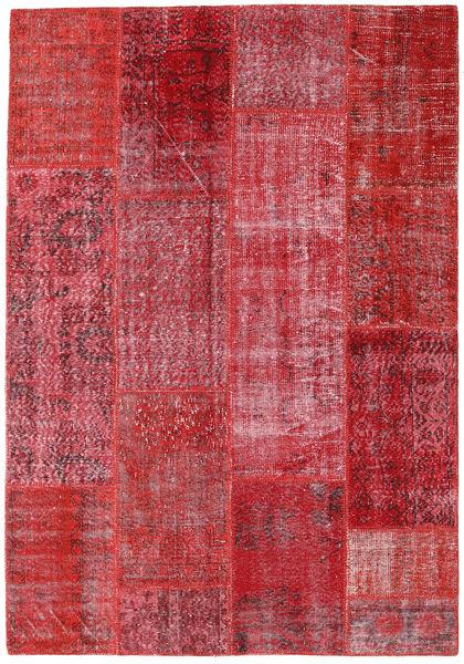Patchwork Vloerkleed 160X230 Echt Modern Handgeknoopt Rood/Roestkleur (Wol, Turkije)