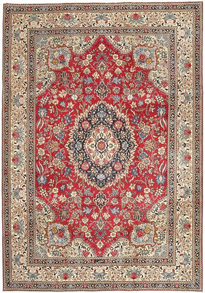 Tabriz Patina Vloerkleed 237X336 Echt Oosters Handgeknoopt Lichtgrijs/Donkerrood (Wol, Perzië/Iran)