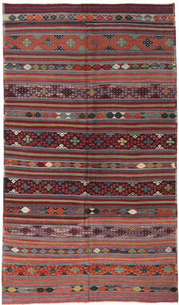 Kelim Turkije Vloerkleed 181X304 Echt Oosters Handgeweven Donkerrood/Donkergrijs (Wol, Turkije)