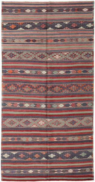 Kelim Turkije Vloerkleed 176X340 Echt Oosters Handgeweven Donkergrijs/Donkerrood (Wol, Turkije)