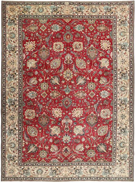 Tabriz Patina Vloerkleed 284X390 Echt Oosters Handgeknoopt Donkerbruin/Lichtgrijs Groot (Wol, Perzië/Iran)