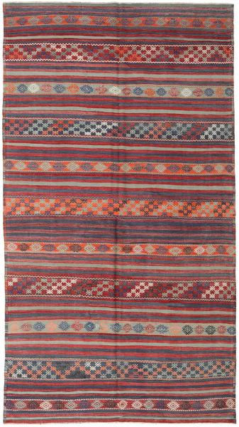 Kelim Turkije Vloerkleed 186X334 Echt Oosters Handgeweven Donkerrood/Donkergrijs (Wol, Turkije)