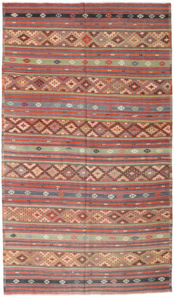 Kelim Turkije Vloerkleed 190X328 Echt Oosters Handgeweven Roestkleur/Lichtgrijs (Wol, Turkije)