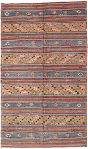 Kelim Turkije Vloerkleed 180X307 Echt Oosters Handgeweven Donkerrood/Donkergrijs (Wol, Turkije)