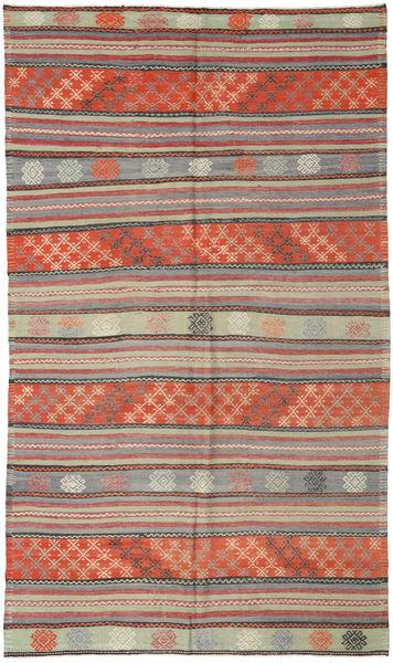Kelim Turkije Vloerkleed 171X295 Echt Oosters Handgeweven Donkerrood/Lichtgrijs (Wol, Turkije)