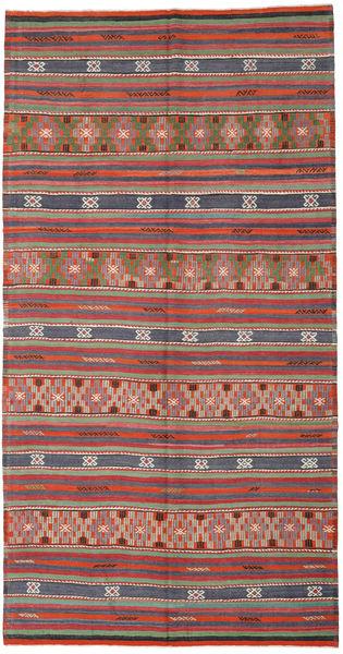 Kelim Turkije Vloerkleed 188X365 Echt Oosters Handgeweven Donkerrood/Roestkleur (Wol, Turkije)