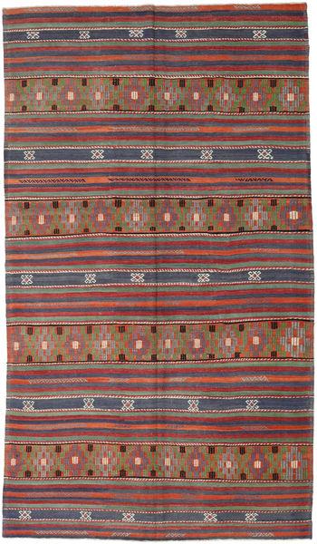 Kelim Turkije Vloerkleed 193X333 Echt Oosters Handgeweven Donkerrood/Donkergrijs (Wol, Turkije)