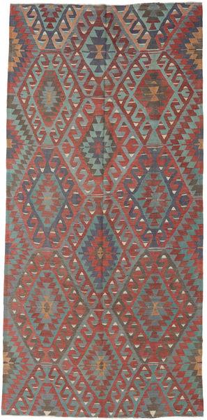Kelim Turkije Vloerkleed 163X342 Echt Oosters Handgeweven Donkergrijs/Donkerrood/Bruin (Wol, Turkije)