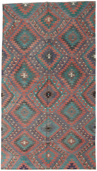 Kelim Turkije Vloerkleed 182X323 Echt Oosters Handgeweven Donkergrijs/Roestkleur (Wol, Turkije)