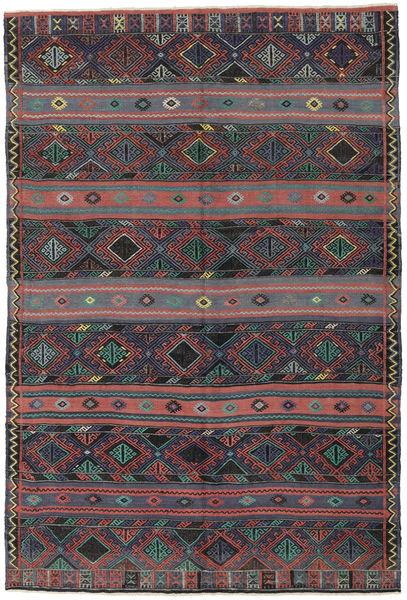 Kelim Turkije Vloerkleed 168X250 Echt Oosters Handgeweven Donkergrijs/Donkerrood (Wol, Turkije)