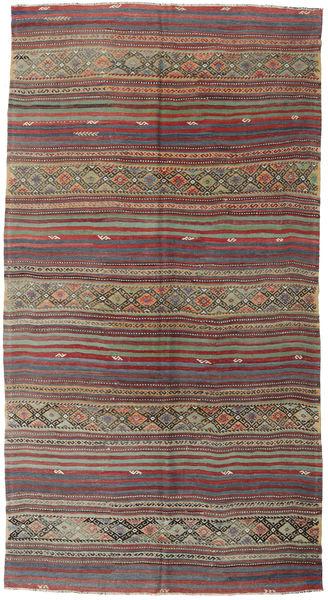 Kelim Turkije Vloerkleed 161X305 Echt Oosters Handgeweven Donkerrood/Lichtgrijs (Wol, Turkije)