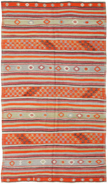 Kelim Turkije Vloerkleed 157X277 Echt Oosters Handgeweven Roestkleur/Lichtgrijs (Wol, Turkije)