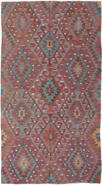 Kelim Turkije Vloerkleed 158X293 Echt Oosters Handgeweven Donkerrood/Donkergroen (Wol, Turkije)
