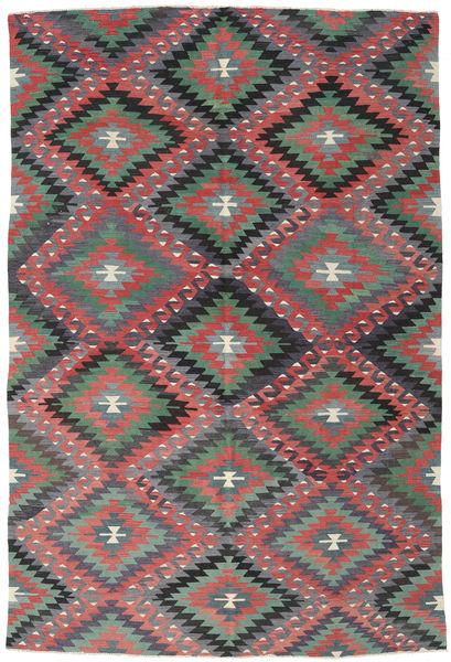 Kelim Turkije Vloerkleed 184X273 Echt Oosters Handgeweven Donkergrijs/Roestkleur (Wol, Turkije)