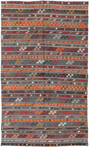 Kelim Turkije Vloerkleed 180X303 Echt Oosters Handgeweven Donkerrood/Donkergrijs (Wol, Turkije)