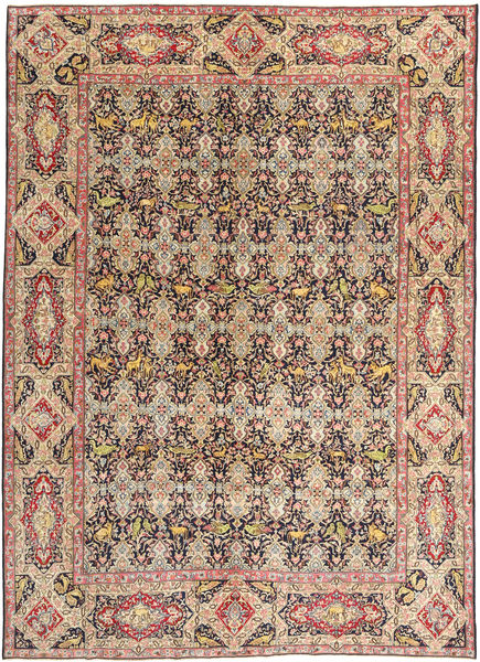 Tabriz Patina Vloerkleed 294X397 Echt Oosters Handgeknoopt Donkerbruin/Donkerrood Groot (Wol, Perzië/Iran)