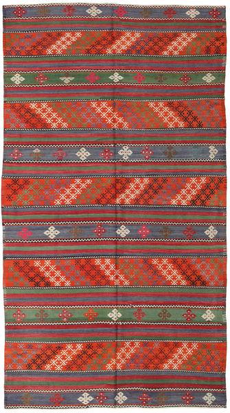 Kelim Turkije Vloerkleed 168X296 Echt Oosters Handgeweven Donkerrood/Donkergrijs (Wol, Turkije)