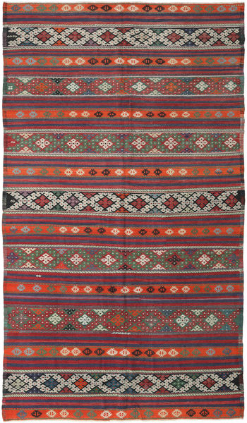 Kelim Turkije Vloerkleed 175X313 Echt Oosters Handgeweven Donkerrood/Zwart (Wol, Turkije)