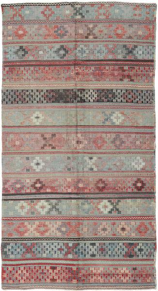 Kelim Turkije Vloerkleed 146X288 Echt Oosters Handgeweven Donkergrijs/Lichtgrijs (Wol, Turkije)