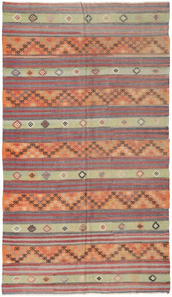 Kelim Turkije Vloerkleed 162X290 Echt Oosters Handgeweven Donkerrood/Lichtgrijs (Wol, Turkije)