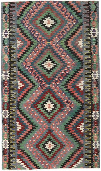 Kelim Turkije Vloerkleed 172X292 Echt Oosters Handgeweven Zwart/Donkerrood (Wol, Turkije)